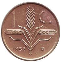 Монета 1 сентаво. 1958 год, Мексика.