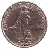 Монета 25 сентаво. 1962 год, Филиппины. Из обращения.