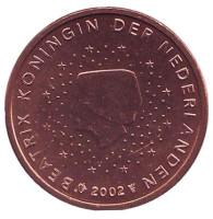 Монета 2 цента. 2002 год, Нидерланды.