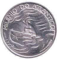 Тысячелетие освоения Атлантики. Монета 1000 эскудо, 1999 год, Португалия.