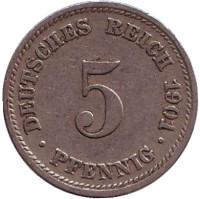 Монета 5 пфеннигов. 1901 год (D), Германская империя.