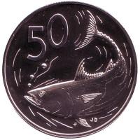 "Тунец. Монета 50 центов. 1975 год, Острова Кука. (Отметка монетного двора: ""FM"")."