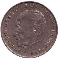 Конрад Аденауэр. Монета 2 марки. 1971 год (F), ФРГ.