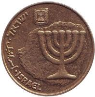 Менора (Семисвечник). Монета 10 агор. 2011 год, Израиль.