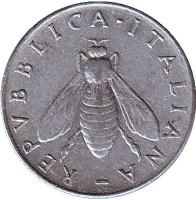 Медоносная пчела. Монета 2 лиры. 1955 год, Италия.