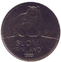Медведь. Монета 50 пенни. 1993 год, Финляндия. UNC.