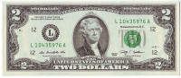 Банкнота 2 доллара. 2009 год, США.