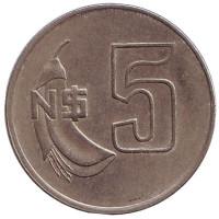 Монета 5 новых песо. 1980 год, Уругвай.