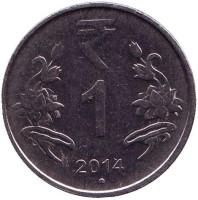 """Монета 1 рупия. 2014 год, Индия. (""""°"""" - Ноида)"""