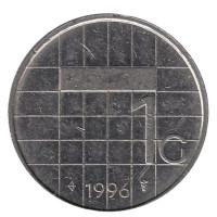 Монета 1 гульден. 1996 год, Нидерланды.