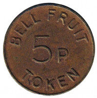 "Игровой жетон ""5p / TOKEN. Bell Fruit"". (Токен), Великобритания. (Тонкая ""5"")"
