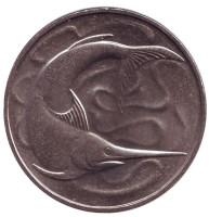 Рыба-меч. Монета 20 центов. 1984 год. Сингапур. aUNC.