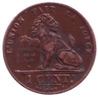 Монета 1 сантим. 1912 год, Бельгия. (Des Belges)