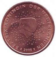 Монета 5 евроцентов. 2005 год, Нидерланды.