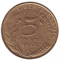 Монета 5 сантимов. 1966 год, Франция.