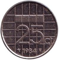 Монета 25 центов. 1984 год, Нидерланды.