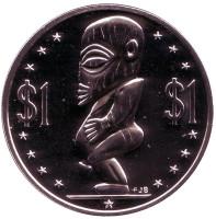 "Тангароа. Божество. Монета 1 доллар. 1975 год, Острова Кука. (Отметка монетного двора: ""FM"")."