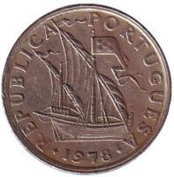 Монета 2,5 эскудо. 1978 год, Португалия.