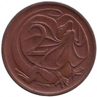 Плащеносная ящерица. Монета 2 цента. 1980 год, Австралия. Из обращения.
