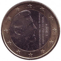 Монета 1 евро. 2016 год, Нидерланды.