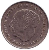 Теодор Хойс. Монета 2 марки. 1971 год (D), ФРГ.