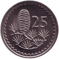 Ливанский кедр. Монета 25 миллей. 1981 год. Кипр. aUNC.