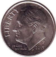 Рузвельт. Монета 10 центов. 2013 (P) год, США.