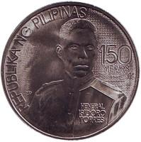 150 лет со дня рождения генерала Исидоро Торреса. Монета 1 песо. 2016 год, Филиппины.