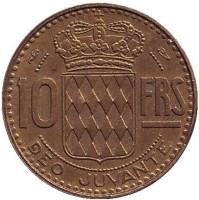 Монета 10 франков. 1951 год, Монако.