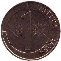Монета 1 марка. 1993 год, Финляндия. UNC. (Алюминиевая бронза)