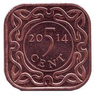 Монета 5 центов. 2014 год, Суринам.