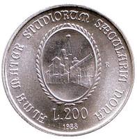 900 лет Болонскому университету. Монета 200 лир. 1988 год, Италия.