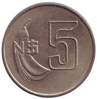 Монета 5 новых песо. 1981 год, Уругвай.