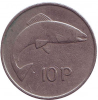 Лосось. Монета 10 пенсов. 1973 год, Ирландия.