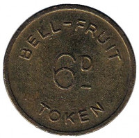 "Игровой жетон ""6D / TOKEN. Bell Fruit. 2 1/2 new pence"". (Токен), Великобритания."