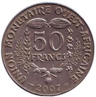 Монета 50 франков. 2007 год, Западные Африканские штаты.
