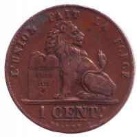 Монета 1 сантим. 1914 год, Бельгия.
