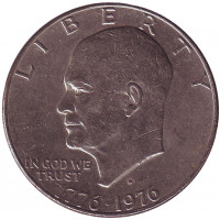 "Дуайт Эйзенхауэр (""лунный доллар""). Монета 1 доллар, 1976 год, США. (D)"