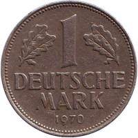 Монета 1 марка. 1970 год (D), ФРГ.