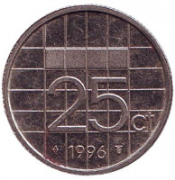 Монета 25 центов. 1996 год, Нидерланды.