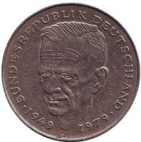 Курт Шумахер. Монета 2 марки. 1979 год (D), ФРГ.