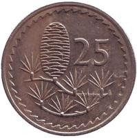 Ливанский кедр. Монета 25 миллей. 1981 год. Кипр. Из обращения.