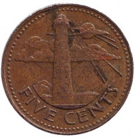 Маяк. Монета 5 центов. 1979 год, Барбадос.