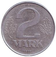 Монета 2 марки. 1977 год (A), ГДР.