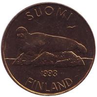 Тюлень. Монета 5 марок. 1993 год, Финляндия. UNC.