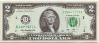 Банкнота 2 доллара. 2013 год, США.