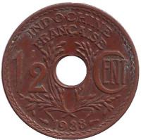 Монета 1/2 цента. 1938 год, Французский Индокитай.