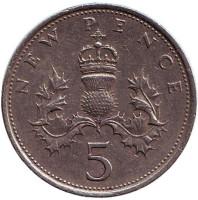 Монета 5 новых пенсов. 1971 год, Великобритания.