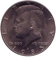 Джон Кеннеди. Монета 50 центов. 1985 год (D), США. UNC.