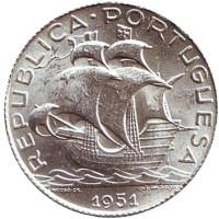 Парусник. Монета 2,5 эскудо. 1951 год, Португалия. UNC.